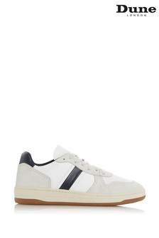 Dune London Trick White Stripe Leather Trainers