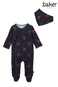 baker by Ted Baker Navy Animal All Over Print Sleepsuit And Bib