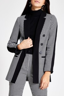 River Island Dogtooth Blocked Hayley Jacket
