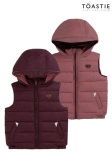 Töastie® Kids Black Cherry/Rose Pink EcoReversible Gilet