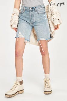 Free People Light Wash Denim Cycle Shorts