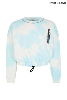 River Island Blue Tie Dye Necklace Sweater