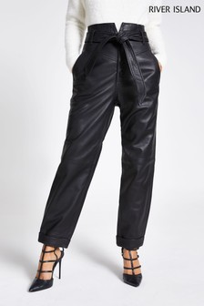 River Island Black Leather Peg Trousers