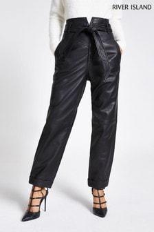 River Island Black Leather Peg Trousers