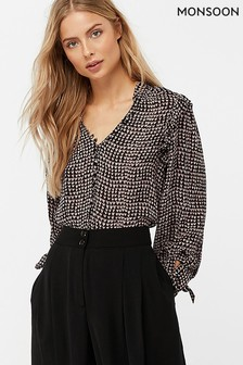 Monsoon Ladies Black Hope Heart Print Blouse