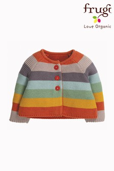 Frugi Organic Cotton Knitted Cardigan In Soft Rainbow Stripe