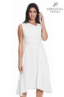 Adrianna Papell White Soft Draped A-Line Dress