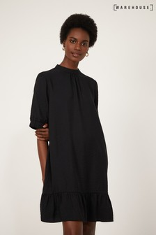 Warehouse Black Puff Sleeve Frill Hem Dress