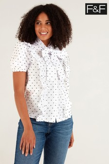 F&F Pussy Bow Polka Dot Blouse