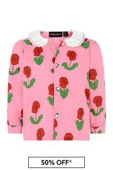 Girls Pink Violas Woven Blouse
