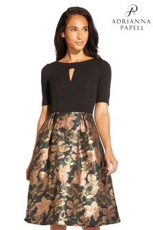 Adrianna Papell Black Jacquard And Crepe Dress