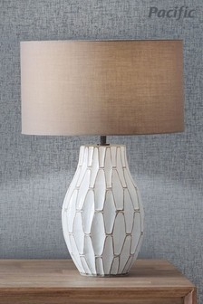 Gaudi White Stoneware Geometric Table Lamp by Pacific Lifestyle