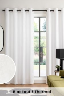 Eyelet Blackout/Thermal Cotton Pencil Pleat Curtains