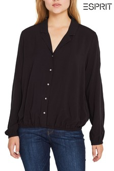 Esprit Black Viscose Blouse Top With Gathered Hem