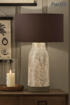 Milano Tall Marble Effect Stoneware Table Lamp by Pacific