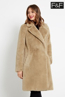 F&F Neutral Long Faux Fur Coat