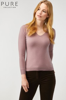 Pure Collection Natural Cashmere Slim Fit V-Neck Sweater