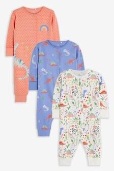 3 Pack Dinosaur Sleepsuits (0mths-3yrs)