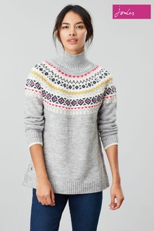 Joules Grey Kristy Chunky Fairisle Pattern Jumper