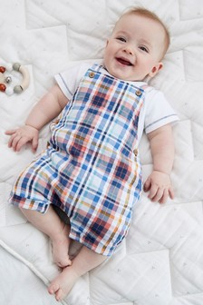 Check Dungarees And Bodysuit Set (0mths-3yrs)