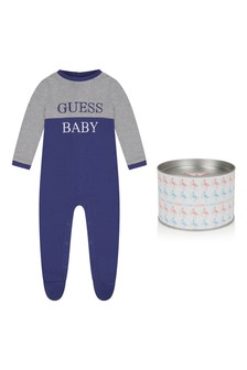 Baby Boys Grey/Navy Cotton Babygrow