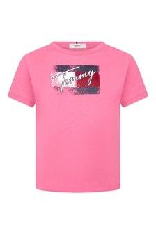 Tommy Hilfiger Girls Pink Cotton T-Shirt