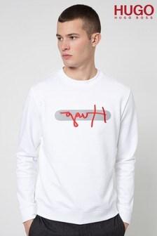 HUGO White Dicago Sig Logo Sweatshirt