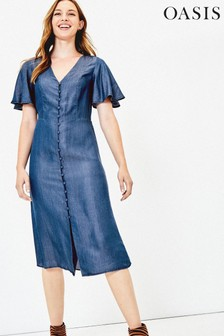 Oasis Blue Shirred Waist Midi Dress