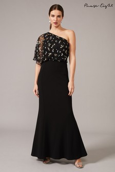 Phase Eight Black Adele Sequinned One Shoulder Dress