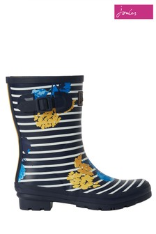Joules Blue Molly Mid Height Printed Welly