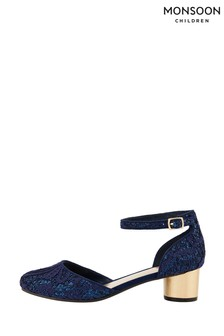 Monsoon Navy Glitter Lace Two Part Heeled Shoes