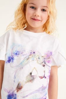 Sequin Unicorn Frill Sleeve T-Shirt (3-16yrs)