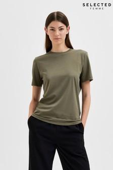 Selected Femme Khaki Perfect Box T-Shirt
