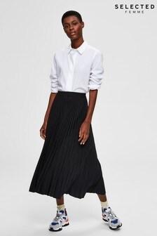 Selected Femme Black Pleated Midi Skirt