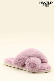 Heavenly Feet Purple Ladies Comfort Slippers