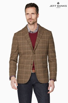 Jeff Banks Brown Tweed Check Tailored Fit Blazer