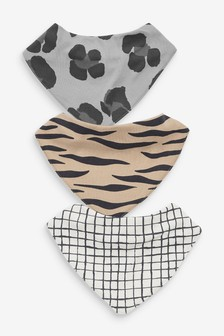 3 Pack GOTS Organic Animal Print Gathered Bibs