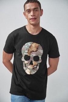 T-Shirt mit Totenschädelmotiv aus Wende-Pailletten