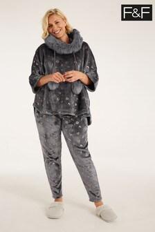 F&F Grey Foil Poncho Hanging Pyjama Set