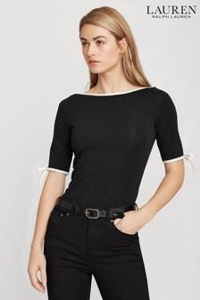 Lauren Ralph Lauren® Black White Trim Aithley Jersey Top