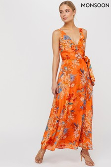 Monsoon Orange Grace Print Embellished Maxi Dress