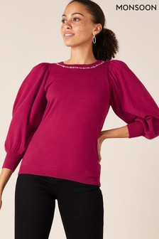 Monsoon Red Sustainable Embellished Neck Jumper
