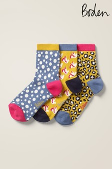 Boden Yellow Ankle Socks Three Pack