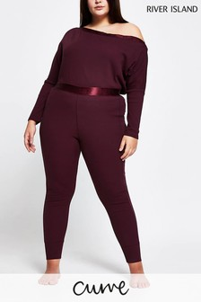 River Island Plus Purple Medium Seam Detail Rib Leggings
