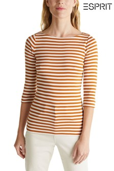 Esprit Brown 3/4 Sleeved T-Shirt With Stripes
