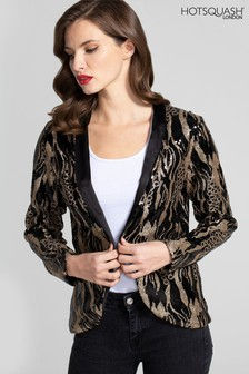 HotSquash Sequin Jacket With Tuxedo Trim