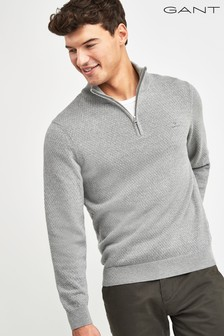 GANT Grey Honeycomb Half Zip Sweater
