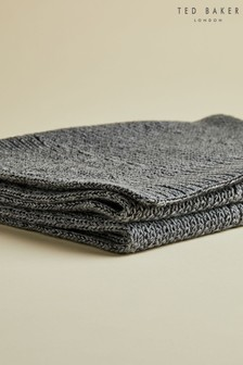 Ted Baker Grey Plateit Textured Cardigan Knit Scarf