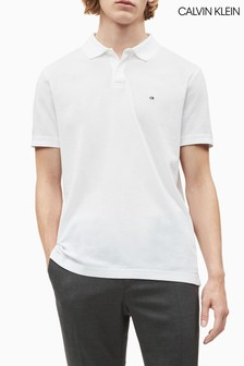 Calvin Klein White Refined Pique Slim Polo