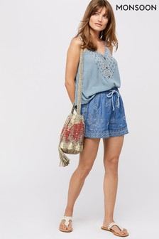 Monsoon Ladies Blue Josefine Embroidered Shorts